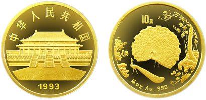 中国古代名画孔雀开屏精制金币值不值得收藏投资