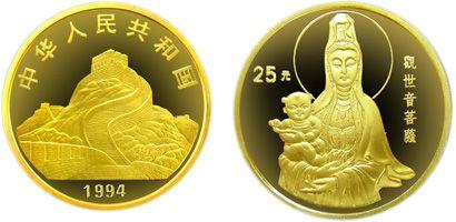 1994版送子观音1/4盎司精制金币值的收藏投资吗