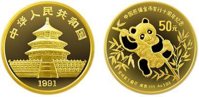 1盎司熊猫金币发行10周年加厚金币现在还值得收藏吗