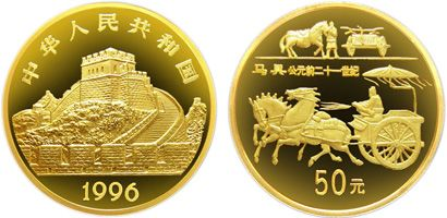 1996年中国古代科技发明发现第五组马具金币收藏价值高不高