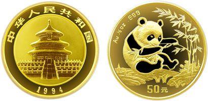 1/2盎司熊猫金币1994年版设计有什么特点   市场行情分析