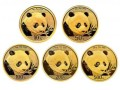 2018年熊猫金币5枚套装2018年金套猫