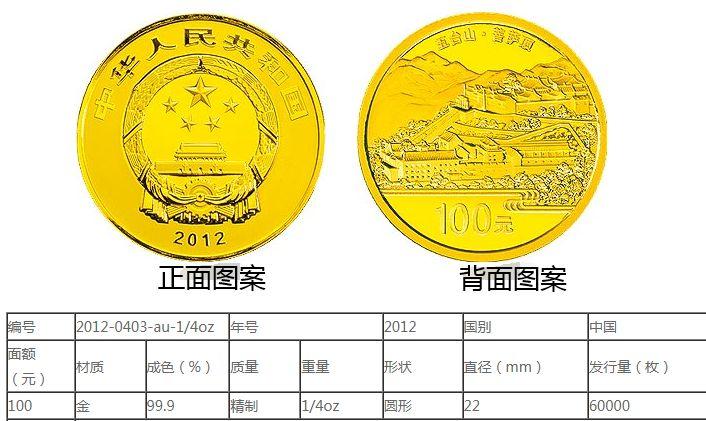 五台山金银币1/4盎司金币 最新的回收价格