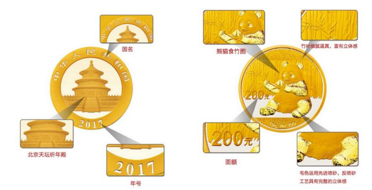 2017版熊猫金银币15克金币近期回收价格 真品图片