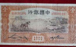 中國銀行天津版一元紙幣價格值多少錢一張及圖片