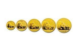 2012年熊猫金币5枚套装2012年金套猫