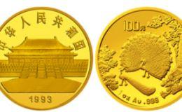 1993年孔雀開屏1盎司紀念金幣的價格