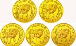 1986年熊猫金币5枚套装1986年金套猫价格