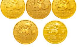 1989年熊猫金币5枚套装1989年金套猫价格