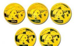 2008年熊猫金币5枚套装2008年金套猫