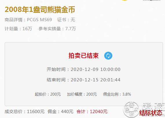 2008年1盎司熊猫金币价格 最新成交价格