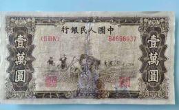 1949年一万元五星水印双马耕地价格 一版币10000元双马耕地值多少钱