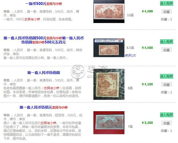 1949年500元农民小桥图片和价格