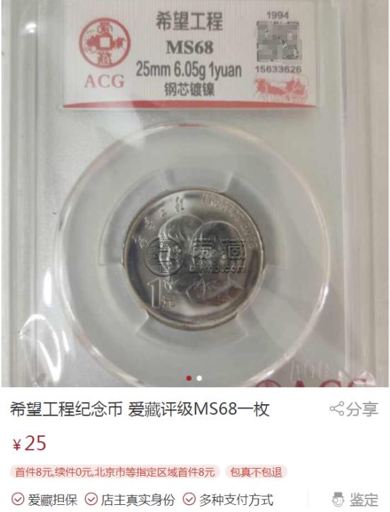 希望工程纪念币1元 希望工程纪念币最新价格