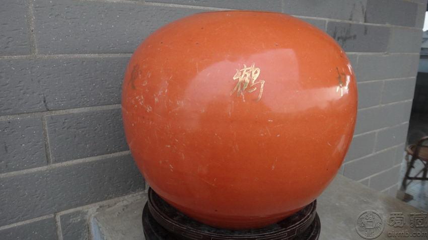 民国珊瑚红描金松鹤罐