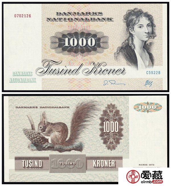 外国钱币赏析:丹麦倒三版1000克朗