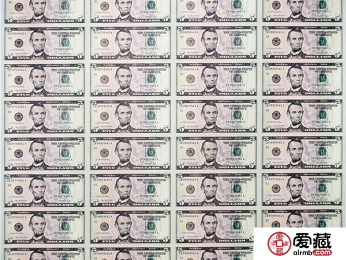 5美元32连体钞图片和价格
