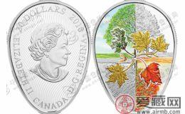 """加拿大发行""""枫叶的四季""""彩色纪念银币"""