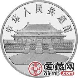 中国古代名画系列金银币1盎司郎世宁所绘《孔雀开屏图》银币