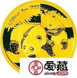 2008版熊猫金银币1/10盎司金币