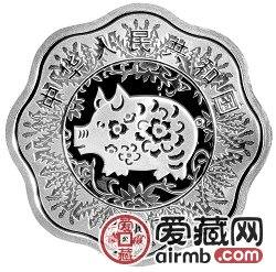 2007中国丁亥猪年金银币1盎司梅花形银币