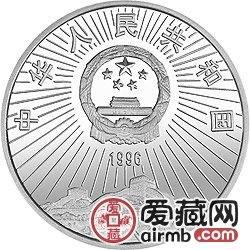 中国航天工业创建40周年纪念币1盎司火箭银币
