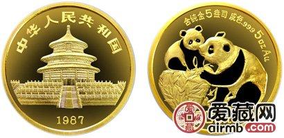 1987年5盎司熊猫金币价格