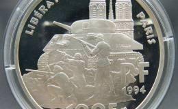 法国巴黎解放50周年银币100法郎图文赏析