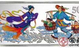 中国古代神话故事鹊桥相会5盎司彩银币市场沉淀久,升值潜力巨大