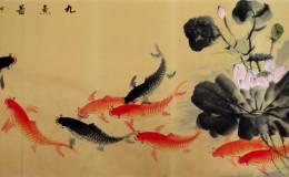 九鱼图字画鉴赏,九鱼图字画图片赏析
