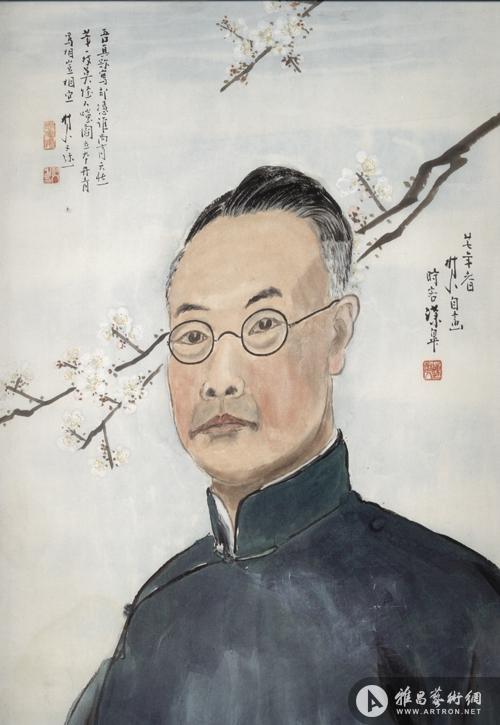 图1 陈树人《自画像》,纸本设色,64×41厘米,1938年,广州艺术博物院藏