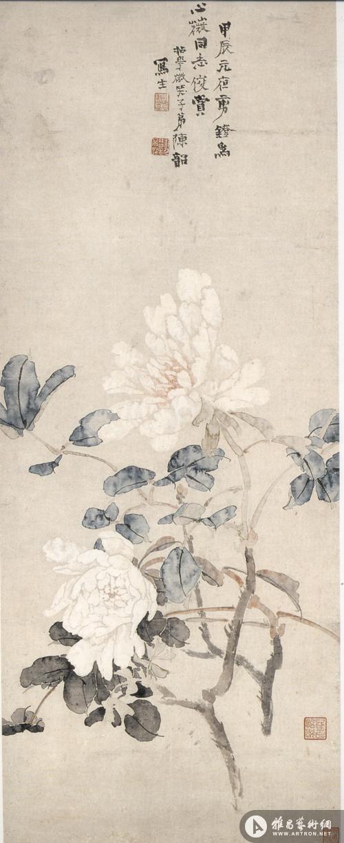 图2 陈树人《牡丹图》,1904年,纸本设色,93.5×32.5厘米,香港艺术馆藏