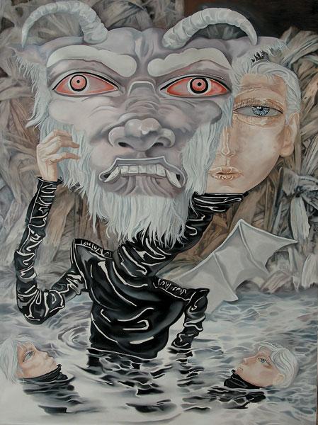 熊宇,魔鬼,2006,30×170cm,布面油画