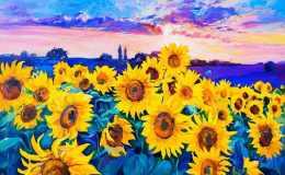 向日葵油画高清图片欣赏,向日葵油画作品鉴赏