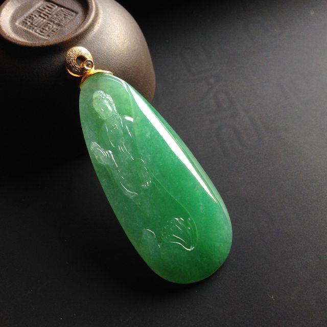 冰糯种绿底 释迦牟尼 翡翠挂件 尺寸52-23-6mm