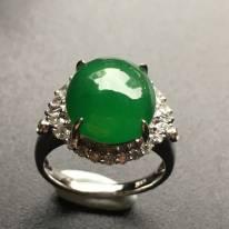 冰潤滿綠鑲嵌翡翠戒指