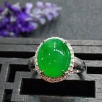 冰种满绿 缅甸天然翡翠戒指14.2*12.5*9.2mm
