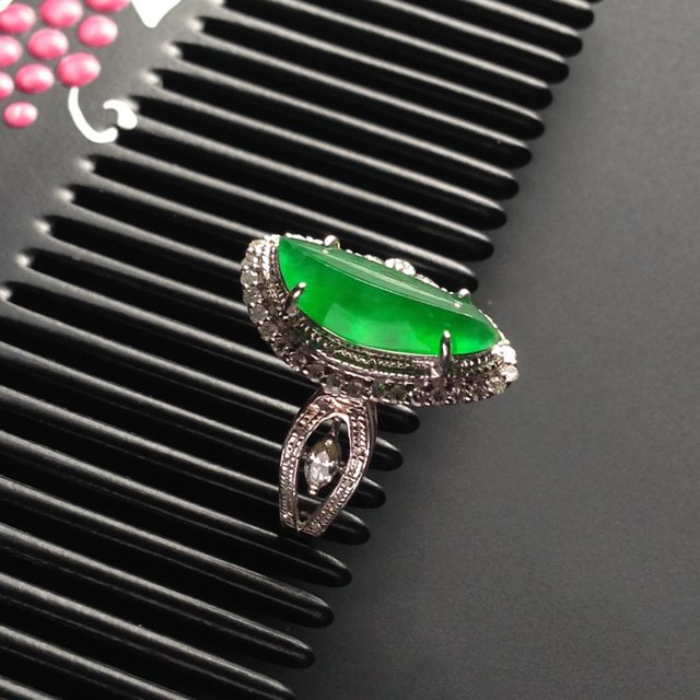 13-6-3.5寸冰种满色 缅甸天然翡翠戒指