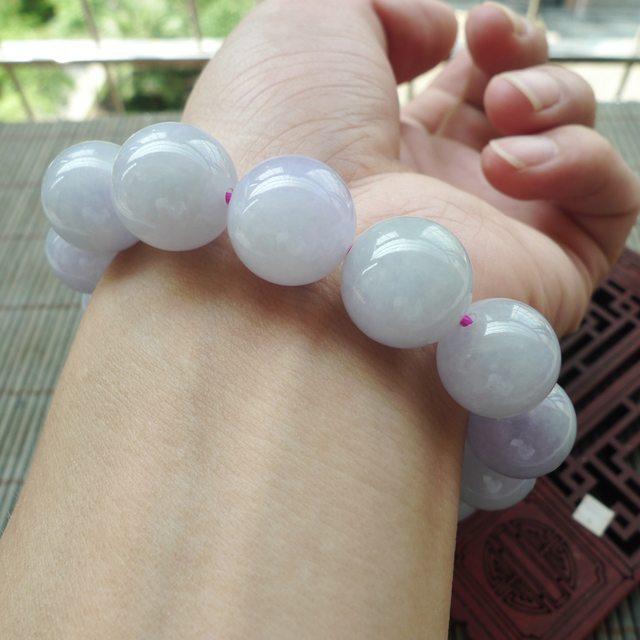 细腻粉紫罗兰圆珠翡翠手链 珠大取一14.8mm