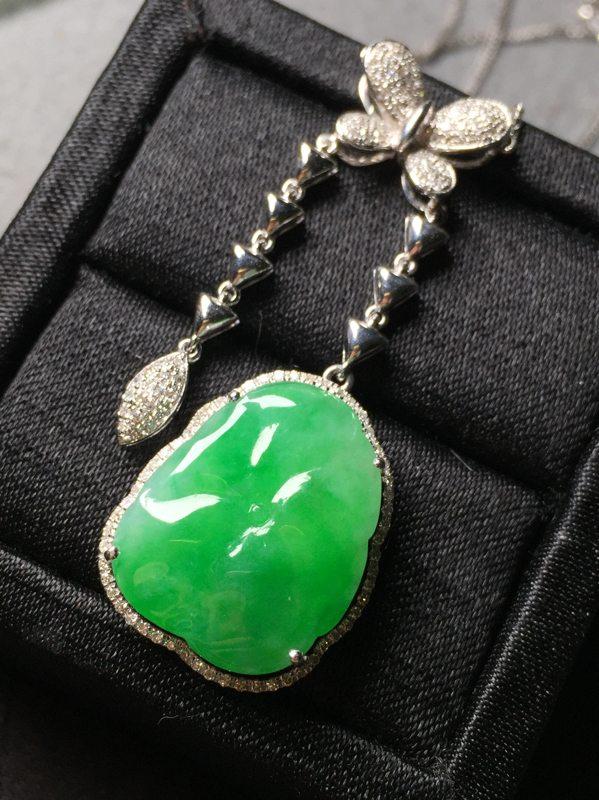 冰阳绿翡翠荷叶锁骨链