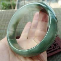 A货翡翠手镯 冰油种飘花正装手镯59.2mm