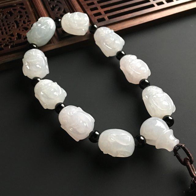 笑佛翡翠手链 单个尺寸16-14-13毫米