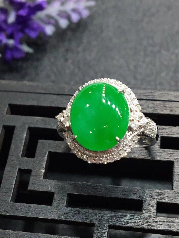 冰种大满绿 缅甸天然翡翠戒指15.9*14.1*9.2mm