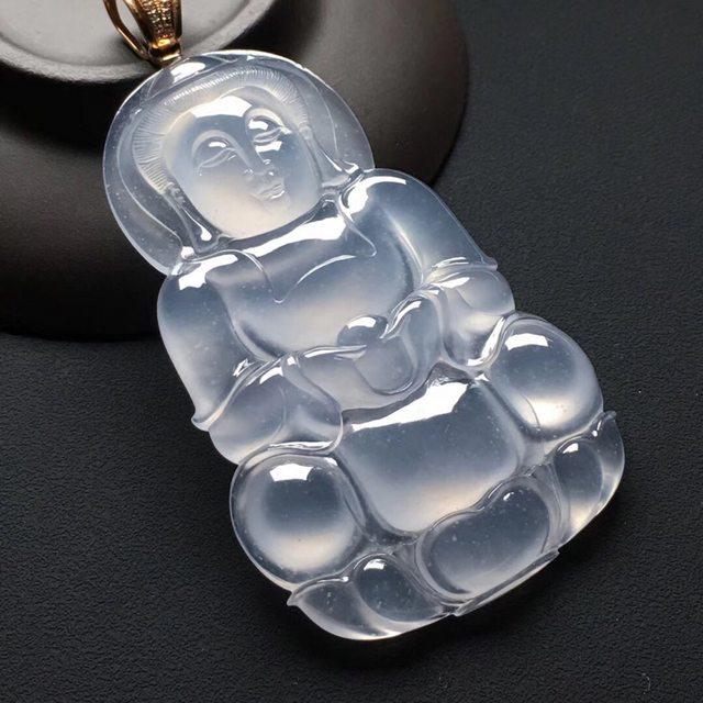 冰种晴水翡翠吊坠  尺寸:66-40-7.7毫米