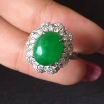 10.58.55寸冰种阳绿 缅甸天然翡翠戒指
