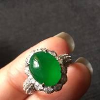 11.5*9*4.5寸高冰种浓艳帝王绿 缅甸天然翡翠戒指