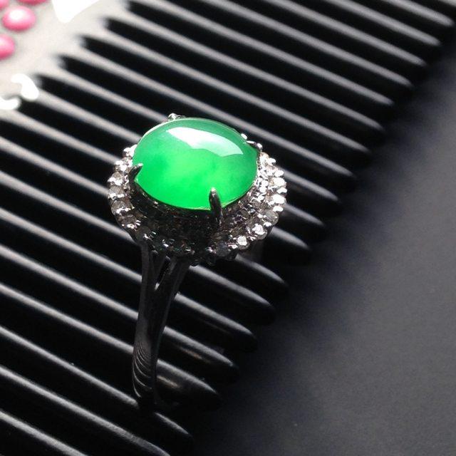 8-7-2.8寸冰种阳绿 缅甸天然翡翠戒指