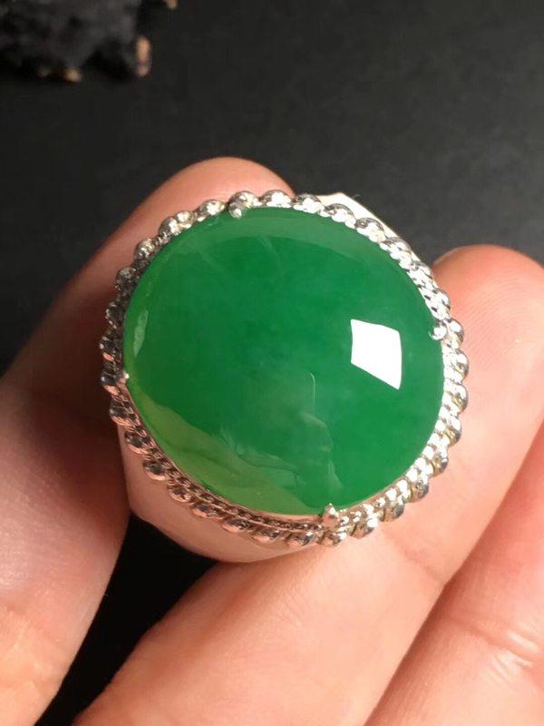 冰种满绿 缅甸天然翡翠戒指21.5-19.5-6毫米