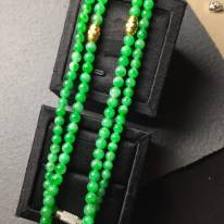 冰阳绿翡翠珠链3.4*5.6
