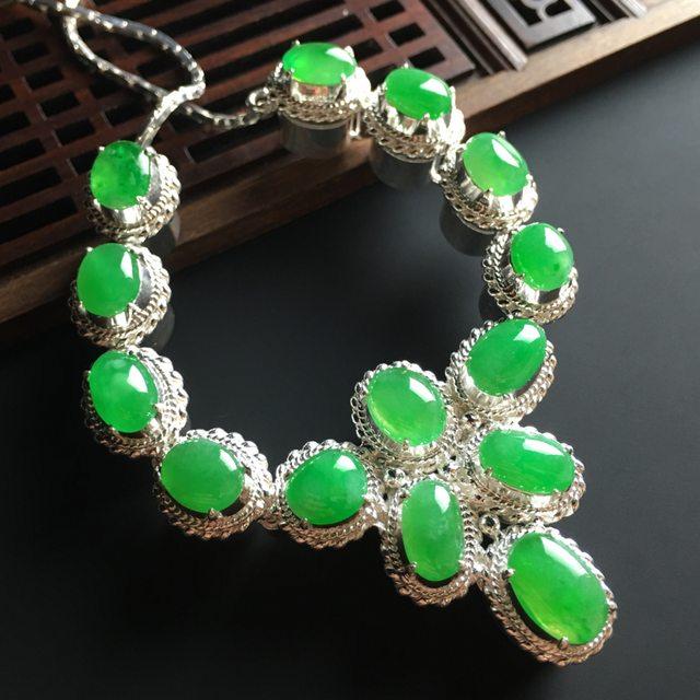冰阳绿翡翠项链 11-8-4*8-7-4mm